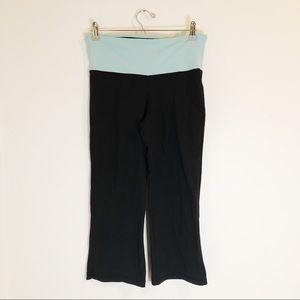 Alo Yoga Wide Leg Flare Pants Black Blue Band S